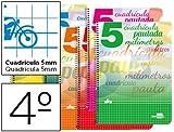 Liderpapel - Bloc espiral cuarto pautaguia tapa cartoncillo 40h80 g cuadriculado pautado 5 mm colores surtidos (10 unidades)