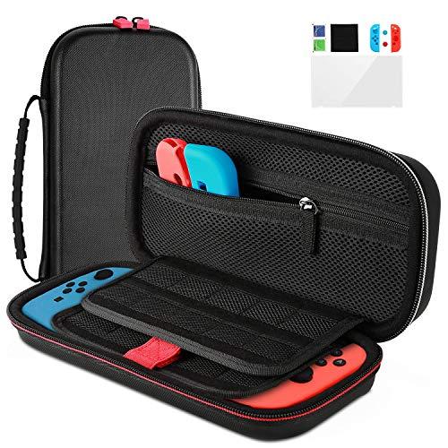 Cozime Nintendo Switch Tasche Wasserdicht Tragetasche/ Case/ Hülle mit Schutzfolie, Konsole Abdeckung, Joystick Abdeckung, Nintendo Switch Zubehör