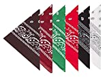 BOOLAVARD 100% Cotton 1pcs, 6pcs or 12pcs Pack Bandanas with Original Paisley Pattern Colour of Choice Headwear / Hair