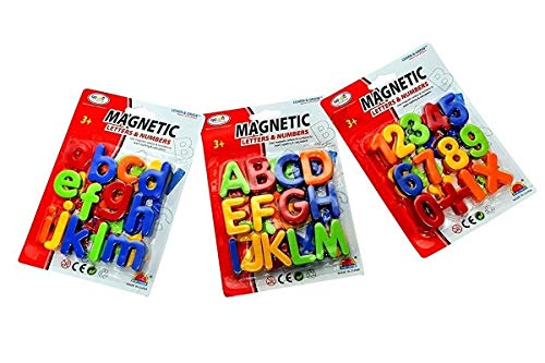 Magnetic Learning Alphabets and Numbers Educational Set for Kids - 65 Pieces (Multicolour) Pack of 3