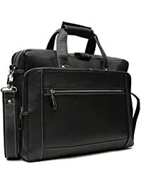 Leather Junction Black Sophisticated Laptop Bag