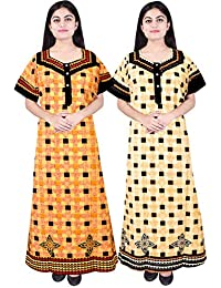 Silver Organisation Women's Cotton Nighty (Free Size, MultiColor) - Pack of 2