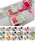"INERRA Cadeau/Panier Emballage Kit - Pois Blancs Film Enveloppement (Pliable), 14 Boucle nœud 7"" & 25 METRES of Ruban de Curling - Rose Clair, 2 metres x 80cm cellophane"