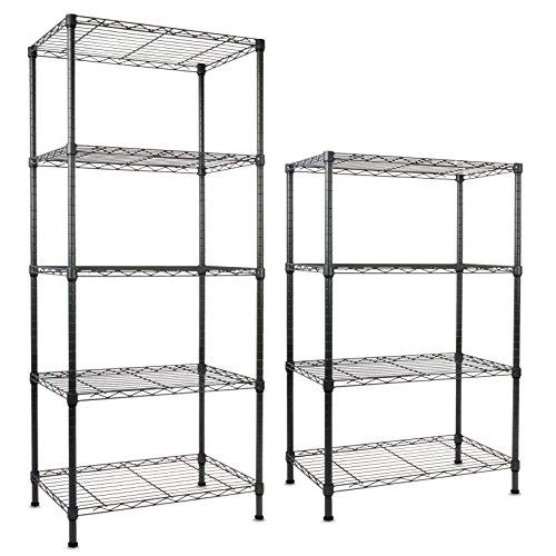 Casa Pura® Stahl Regal Rocky, schwarz | 4Größen–Mehrzweck Storage System, schwarz (Lagerung Bench Amazon)