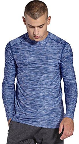 KomPrexx Herren Longsleeve T-Shirt Running Pullover Langarmshirt Sport Sweatshirt Lauf Funktionsshirt Winter Trainingsshirt MC05T(LightBlue,M)
