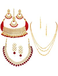 Sukkhi Sensational Pearl Gold Plated Kundan Set of 3 Necklace Set Combo Jewellery for Women