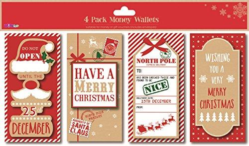 Carte Cadeau Wow.Lot De 4 Cartes Et Enveloppes Cadeau De Noel Traditionnelles Par Wow Pour De L Argent Carte Cadeau