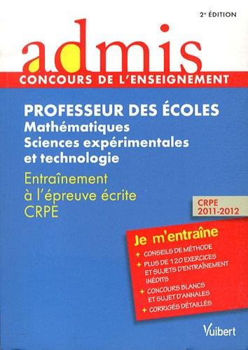 Concours Porfesseur des écoles - Mathématiques, sciences expérimentales, technologie - Admis - Je m'entraîne