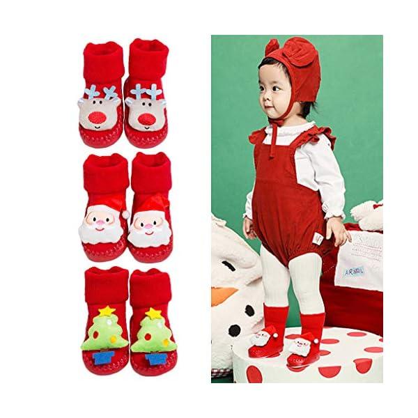 ZOOMY Calcetines navideños para bebés Calcetines Antideslizantes para Interiores para niños y niñas 4