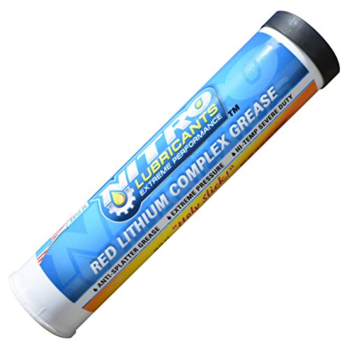 Nitro Lubricants Tacky Red Lithium Complex Tube Grease For Grease Guns (1  Tube 14 Ounces) - Heavy Duty Automotive and Industrial Grease - Great For