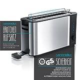Arendo - Automatik Toaster Langschlitz | mit Defrost Funktion | Wärmeisolierendes Doppelwandgehäuse | Automatische Brotzentrierung | Brötchenaufsatz | herausziehbare Krümelschublade |GS-zertifiziert - 2