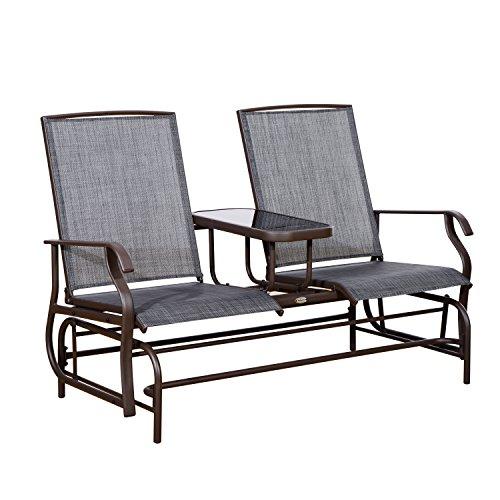 Möbel Schaukelstuhl (Outsunny Metall Double Swing Stuhl Glider Schaukelstuhl Sitzkissen Outdoor Sitzer Garten Möbel Terrasse Veranda mit Tisch)