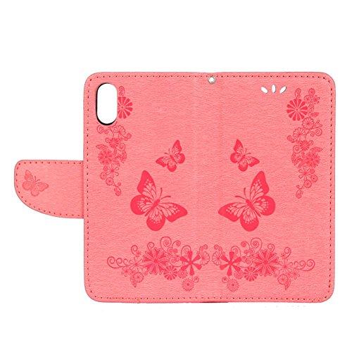 Coque iPhone X, Coque iPhone 10, Pridot Étui de Protection Bien PU Cuir Portefeuille Housse Conception de Papillon Flip Cover Cadeau des Dames Fleur en Relief avec Fonction de Support pour iPhone X, i Rose