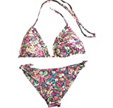 cdff93173277 Verdissima Bikini Triangolo con Brasiliana ANNODATA Fantasia Fiori Rosa TG.  1