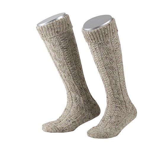 Lusana Jungen Kniestrümpfe Kinder-Kniebundstrumpf Loden Tweed Beige (Mittelbeige Meliert 09), 31-34