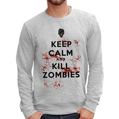 Felpa girocollo KEEP CALM ZOMBIES WALKING DEAD - FILM by MUSH Dress Your Style - Uomo-M-BIANCA