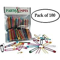 Parth Impex 100alfileres con extra grande resistente pintado 2pulgadas/50mm, costura arte manualidades DIY Proyecto Agujas de pines (100unidades en 10colores)