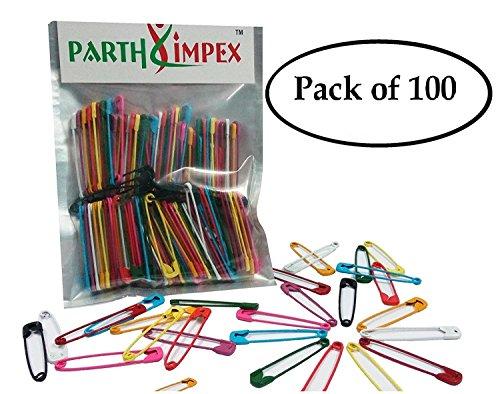 PARTH Impex 100farbige Sicherheitsnadeln Extra große stabile lackiert 5,1cm/50mm, Nähen Kunst Handwerk DIY Projekt Pin Nadeln (100Stück in 10Farben) (Sicherheitsnadeln Handwerk)