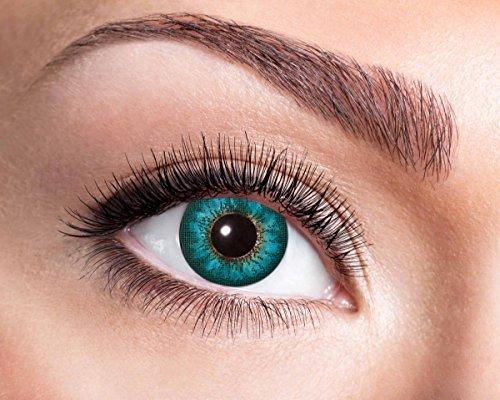 Natürliche, farbige Kontaktlinse aqua, Jahreslinse, 14,5 mm ohne Dioptrin