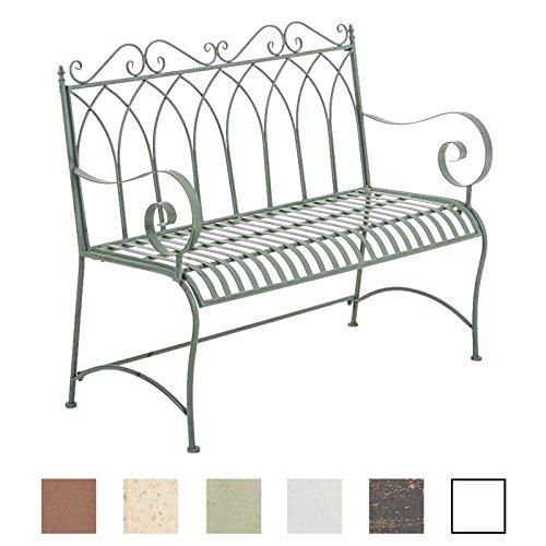 CLP Gartenbank DIVAN im Landhausstil, aus lackiertem Eisen, 106 x 51 cm - aus bis zu 6 Farben wählen Antik Grün
