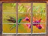 Grüner Kolibri trinkt vom Blütennektar Kunst Pinsel Effekt Fenster im 3D-Look, Wand- oder Türaufkleber Format: 92x62cm, Wandsticker, Wandtattoo, Wanddekoration
