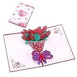 Exing Geburtstagskarte Graduierung,Liebe Rose Blume Grußkarten Handmade Geburtstag Hochzeitseinladung 3D Pop Up