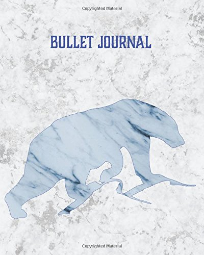Bullet Journal: White Marble Icy Blue Blank 8x10 Dot Grid Softcover Notebook, 160 pages, with Vintage Polar Bear Mountain Arctic Animal Design