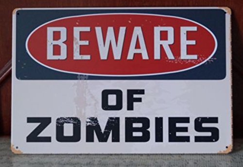 Beware Of Zomies Walking Dead Tin Sign Retro Poster Wall Plaque Home Gift Wall Decor 20x30cm by Tin Sign