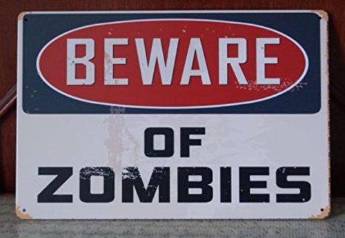 Tin Sign Cuidado Zomies Walking Dead Placa