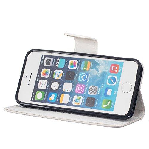iPhone 5S Hülle Case,iPhone SE Hülle Case,Gift_Source [Kartenschlitz] [Hinterbauständer Eigenschaft] PU LederHülle Case Tasche Hüllen Schutzhülle Scratch Magnetverschluss Telefon-Kasten Handyhülle Sta E01-10-White160620