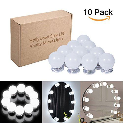 LED Spiegelleuchte Hollywood Stil Kosmetikspiegel 10 Dimmbare LED Kugellampe Kit 6500k weiß...