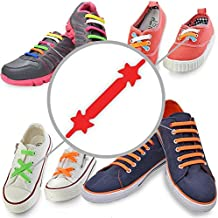 CORDONES ELASTICOS (Estándar 12 piezas, Rojo) - No Tie Laces Elásticos de Silicona con un Diseño Especial para Halar y Bloquear Fácilmente - Perfecto para Niños Pequeños, Niños Dispraxicos