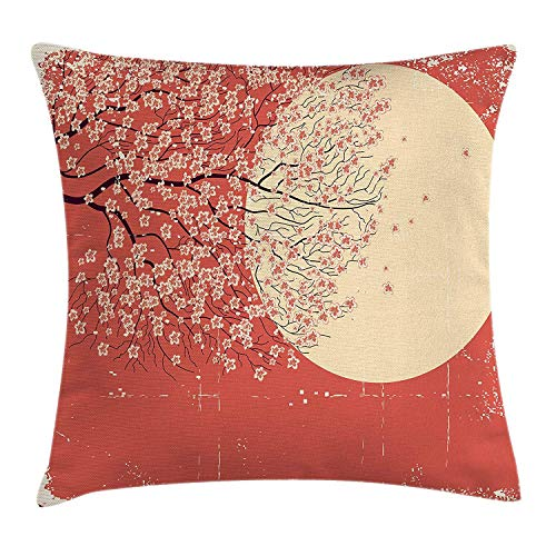 Kotdeqay Spring Throw Pillow Cushion Cover, Cherry Blossom Sakura Tree Branches on Moon Japanese Style IllustrationCoral Pale Yellow Plum