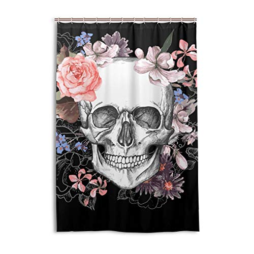 Eybfrre Aideess Skulls Decorations Collection, Rose Flower Dead Sugar Skull Head Design Skeletons All Saints Day Halloween Image, Polyester Fabric Bathroom Duschvorhang, 48 Inches Long, Black 0J10911 Flower Sugar Collection
