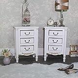 Melody Maison Paar Kunstvolles Antik Creme Nachttisch mit 3Schubladen Schränke, Adelise Serie