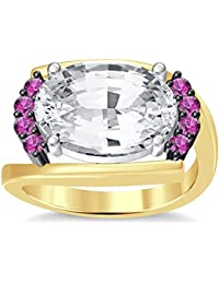 Silvernshine 4Ct Oval & Round Cut SimPink Sapphire Diamond 18K Yellow Gold Plated Engagement Ring