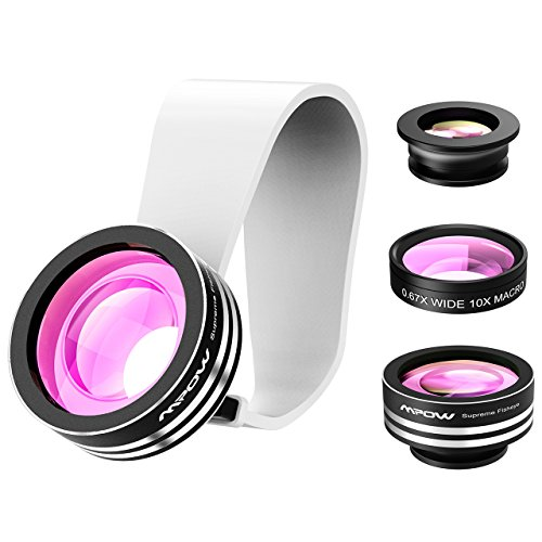 Mpow® obiettivo Clip-On 3 in 1, Occhio di pesce 180 gradi + grandangolo 0,65X + lente macro 10X, per iPhone 6/6 Plus, iPhone 5/5S, iPhone 4/4S, Samsung, HTC e altri Smartphone