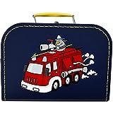 Pappkoffer mit Motiv Lustige Feuerwehr 25 cm (blau)