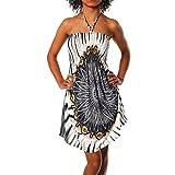 H112 Damen Sommer Aztec Bandeau Bunt Tuch Kleid Tuchkleid Strandkleid Neckholder, Farben:F-021 Schwarz;Größen:Einheitsgröße