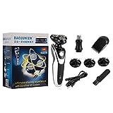 Hehilark 5-in-1 4D 3 lame rasoio elettrico impermeabile rotante rasoio elettrico barba tagliatore di capelli tagliatore di capelli