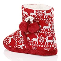 Festive Womens Fairisle Slippers Loungeable Ladies Soft Knit Xmas Ankle Boots