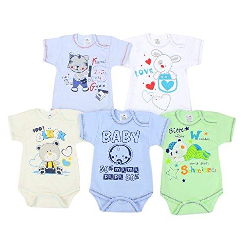 Baby Kurzarm-Body mit Aufdruck und Spruch Babybody Baumwolle Mädchen Bodys Jungen im 5er Set , Farbe: Junge, Größe: 74