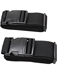 Luggage Strap Suitcase Belt Travel Accessories 2Pack #L18A (2Black) By Msg