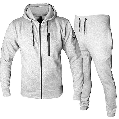 CITY Mens Tracksuit Set Fleece Hoodie Top Bottoms Jogging Joggers Skinny Slim