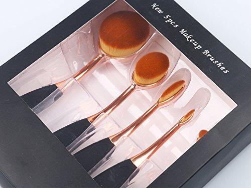 Leeko 5 PCS Set de Brochas de Maquillaje Profesionales para Maquillaje Facial, Cejas Cepillo de Dientes Estilo Fundación Pincel Delineador de