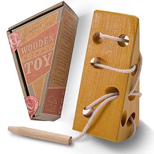 AGREATLIFE Pädagogisches Fädelspiel für Kleinkinder | Käsestück aus Holz, Baumwollschnürung & Fädelmaus | Zur Verbesserung der Kinderlogik, Geduld und Problemlösung | Geruchlos, ungiftig (Hand 5 Holz Rechte)