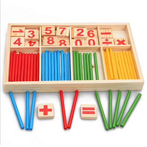 AchidistviQ Zählstäbe aus Holz für Montessori mathematisches Kinderspielzeug, digital, Strichzähler, Lernbox, Kindergarten, Montessori Lehrhilfe Mathematik Multi