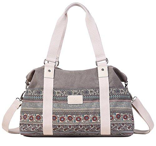 DCCN Bohemian Canvas Shopper Groß Handtasche Damen Große Shopper Tasche für Schule Reisen Arbeit 44cm x 30cm x 14cm - Tasche Bohemian-tasche