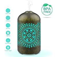 Difusor de aceite esencial, Olago 100 ml Difusores ultrasónicos del metal de la aromaterapia, Humidificador de niebla fría con 7 luces LED de color, Difusor vintage de apagado automático sin agua Humidificador para bebé casa oficina yoga