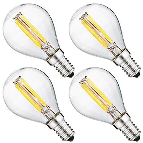luohaoshi 4er Pack dimmbar 4W G45e14SES LED Filament Mini Globe Glühlampe Tag weiß 6000K 40W Entspricht, kleine Edison-Schraube E14LED Antik klar Golf Ball